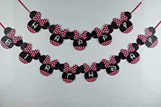 Boston Creative Company Pink Minnie Mouse 1st Happy Birthday Banner Decorations Party Favors Birthday Party Decorations Make of cardstock.