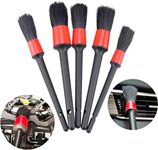 IPELY 5 Pack Detailing Brushes for Cleaning Engines, Wheels, Interior, Dashboard, Leather, Trim, Air Vents, Emblems