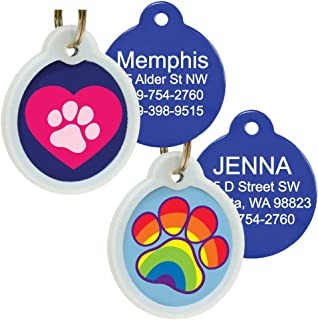 GoTags Unique Pet Tags, Personalized with 4 Lines of Custom Engraved ID, Silent Dog Tags with Glow in The Dark Silencer to Quiet Tag, Several Cute Tag Designs for Cat or Dog