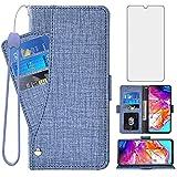 Asuwish Étui portefeuille avec protection d'écran en verre trempé pour Samsung Galaxy A70 et...