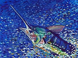 Marlin Wall Art, Billfish Fishing Wall Art Print, Hand Signed Fishing Gift By Jack Tarpon, Billfish Gift, Fish Decor, Colorful Marlin Painting Print