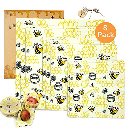 TOPSEAS Emballage Cire d'abeille, Emballage Alimentaire Réutilisable de Cire d'abeille,Emballage Alimentaire Réutilisable et Écologique,pour Sandwichs,Fromage,Fruits,Pain,Collations