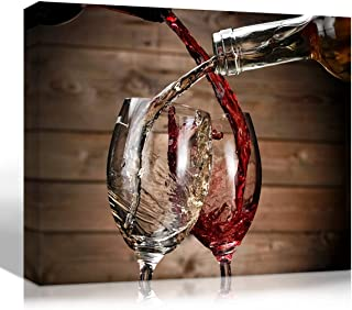 Mon Art Bottle of Red Wine Pouring Canvas Print White Grape Wines on Wood Board Picture Wall Art for Dining Room Kitchen Bedroom Living Room Artwork Vintage Retro Decoration Home Decor Framed,12x16x1P