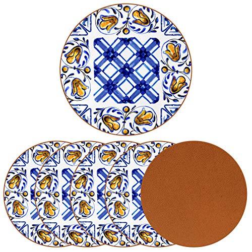 Set di 6 sottobicchieri in maiolica italiana, decorazione per tazze, caffè, vino, vetro da tavolo, protezione da tavolo, ottimo regalo per l'inaugurazione della casa