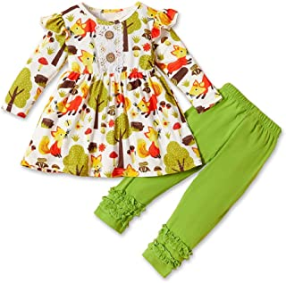 HAPPYMA Thanksgiving Outfits Toddler Baby Girl Pants Sets Fox Ruffle Long Sleeve Dress Top + Pants Fall Winter Clothes 1-5T