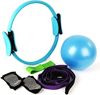 CleanDell 15'Pilates Ring Set,Yoga Fitness Circle,Resistance Loop Exercise Band,Pilates Ball,Stretch Strap,Non Slip Skid Socks,Top Choice of Physical Therapists & Athletic Trainers