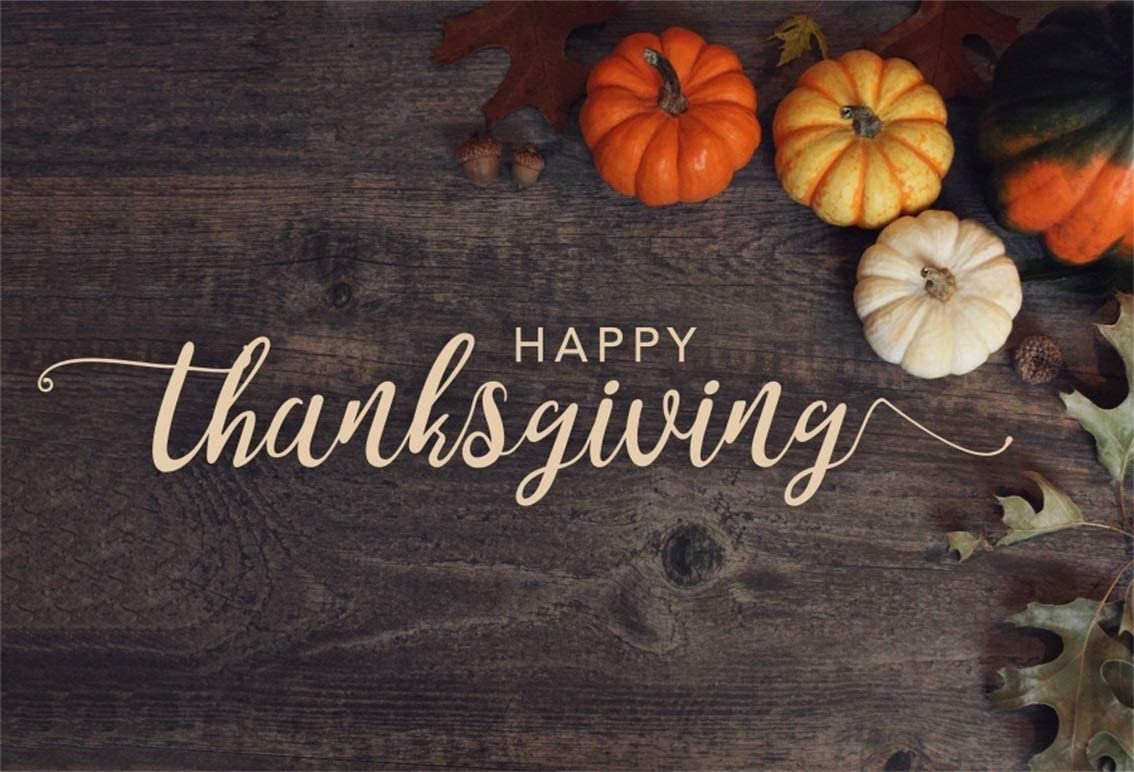 YEELE Happy Thanksgiving Day Backdrop Coffee Cup and Pumpkin on Old Wooden Table Photography Background 6x4ft Vintage Kids Adults Portrait Thanksgiving Dinner Photoshoot Props Digital Wallpaper