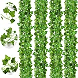 CQURE 18 Strands Artificial Ivy Garland, Fake Vines Greenery Decor Ivy Garland Fake Leaves Hanging Plants for Bedroom Home Kitchen Garden Office Wedding Wall 126 Feet, Green
