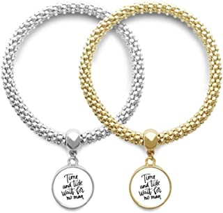 Time and Tide Wait for No Man Quote Lover Bracelet Bangle Pendant Jewelry Couple Chain