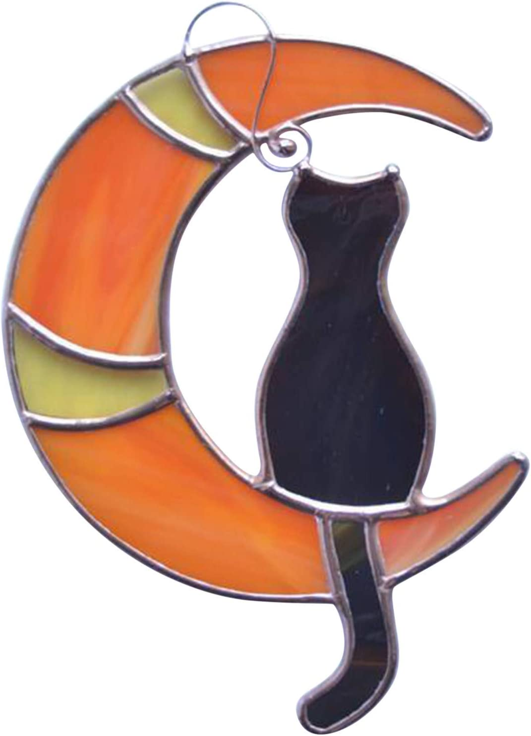 Stained Glass Window Fashion Hangings Black Cat Hangi Max 71% OFF The On Moon