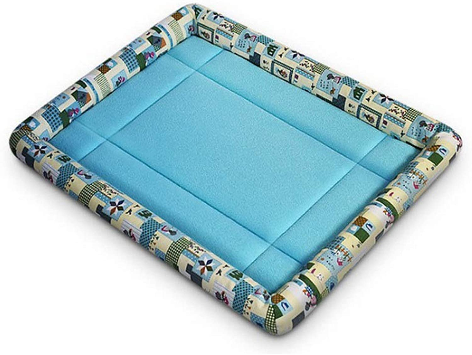 Lzrzbh Kennel Summer Cool Nest Pet Nest Detachable Wash Dogs Indoor Four Seasons Available ,Pet Cats Rest Sleeping Resting Cute House (color   Cartoon bluee, Size   M)