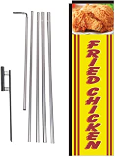Fried Chicken Rectangle Feather Banner Flag Sign with Pole Kit and Ground Spike for Restaurants, Markets, Business Owners