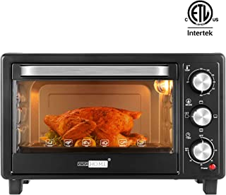 VIVOHOME Stainless Steel 16L 6 Slice Countertop Toaster Oven Broiler with Pan Tray for Office Dorm Room and RV Camper Black