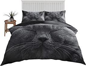 Kids Cat Print Bedding 3 Pcs Cartoon Pets Duvet Cover Black Cats Comforter Bedspread Cover Ultra-Soft Brushed Microfiber 3...