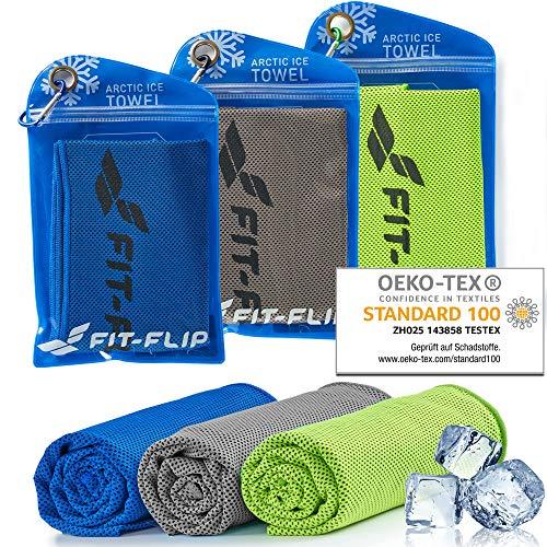 Fit-Flip Kühltuch 3er Set 100x30cm, Mikrofaser Sporthandtuch kühlend, Kühltuch, Cooling Towel, Mikrofaser Handtuch – Farbe: grün/dunkel blau/grau, Größe: 100x30cm