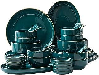 Vaisselle, Ensemble de vaisselle occidental haut de gamme, Ensemble de plats Phnom Green, Ensemble de vaisselle en céramiq...