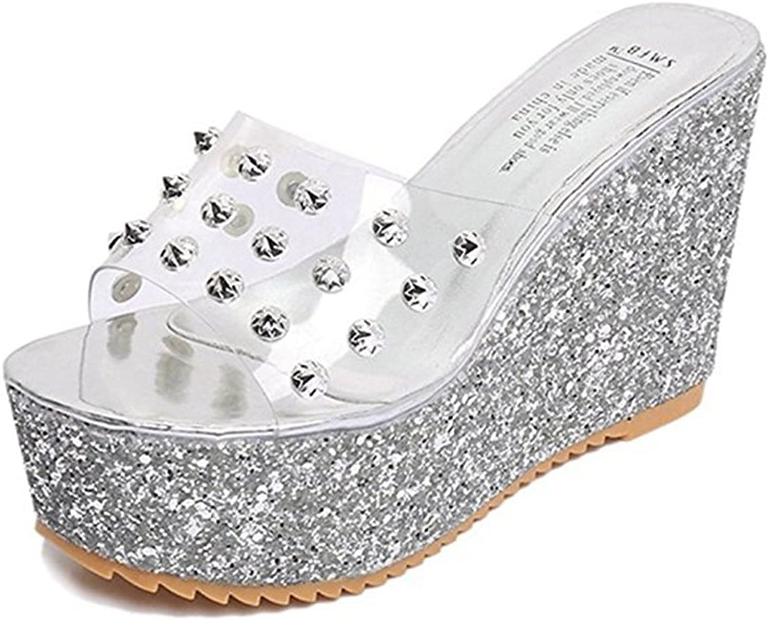 T-JULY Womens Ladies Wedge Platform Diamond Rhinestone Sparkly Bling Slides Sandals Waterproof Transparent Summer Slippers