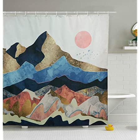 Yokii Mountain Forest Art Shower Curtain 78 Inch Extra Long Landscape Summer Tropical Abstract Small Single Fabric Bathroom Shower Curtain Sets Heavy Weighted Bath Curtains 72 X 78 Blush Home Kitchen