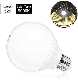 LOHAS G25 Globe Light Bulbs, LED Vanity Lights 40-45W Equivalent, Daylight 5000k Bathroom Round Light Bulb, 520lm Lig...