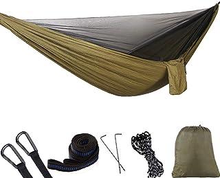 Hamaca De Viaje Doble con Mosquitera y Correa para Arboles Hamaca de Nylon Port/átil Lovebay Hamaca Adecuada para Viajes de Campamento Hamaca para Acampar 290 * 140