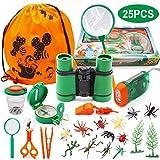 SPECOOL Kit Explorador para Niños, 25Pcs Juguetes de Juego de imaginación para niños y niñas Aventurero Binocular Exploration Fun Toy Kit para Camping y Senderismo