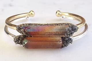 Tangerine quartz gemstone bracelet healing spiritual bangle crystal cuff birthday raw boho jewelry