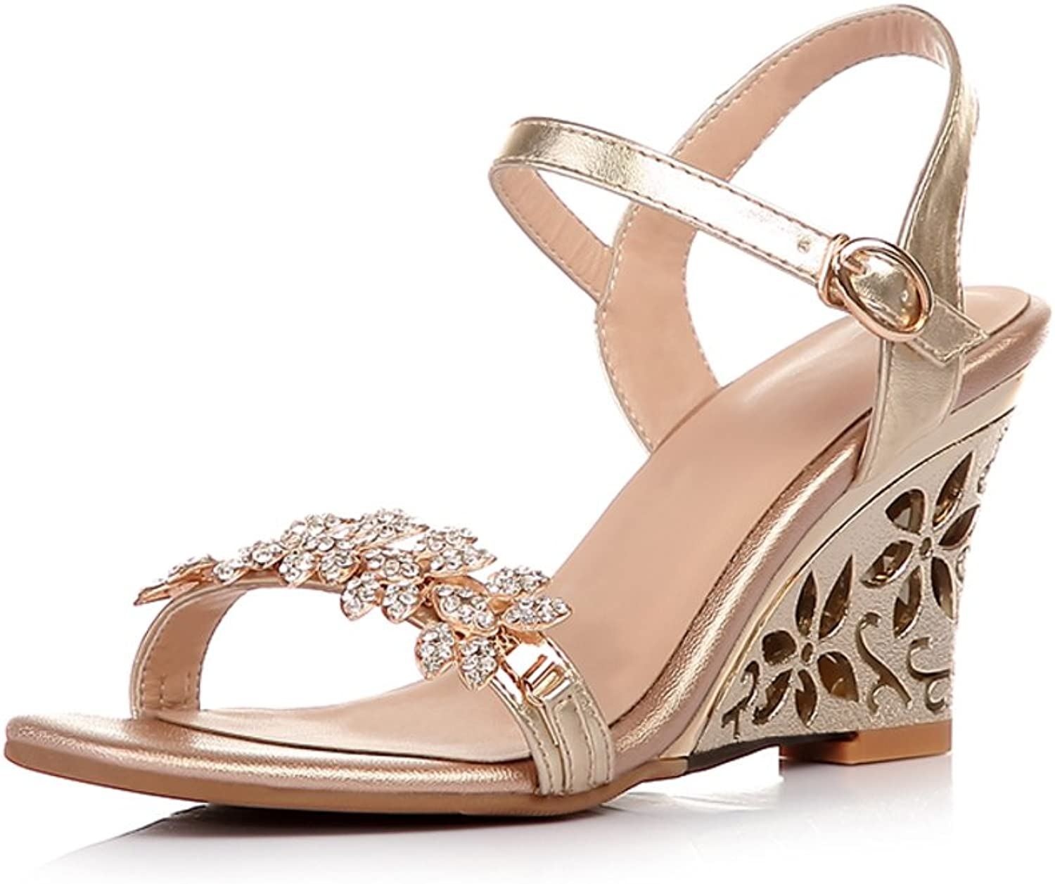 RHFDVGDS Leather summer sandals Wedges high heels shoes skin rhinestone Sandals