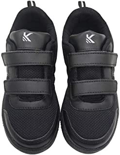 Hopscotch KAZARMAX PU Double Strap School Shoes for Boys and Girls - Black