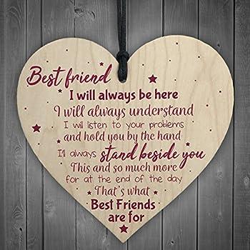 XLD Store Best Friend Gift Friendship Plaque Wooden Heart Birthday Thank you Keepsake Poem Gift For Women