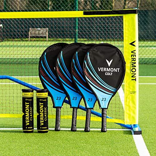Vermont Procourt Mini Tennisnetz und Schläger Set │ Kinder, Jugendliche, Erwachsene │ Netz, Pfosten, Schläger und Bälle Werden alle enthalten (3m Netz, Kinder Schläger 48cm)