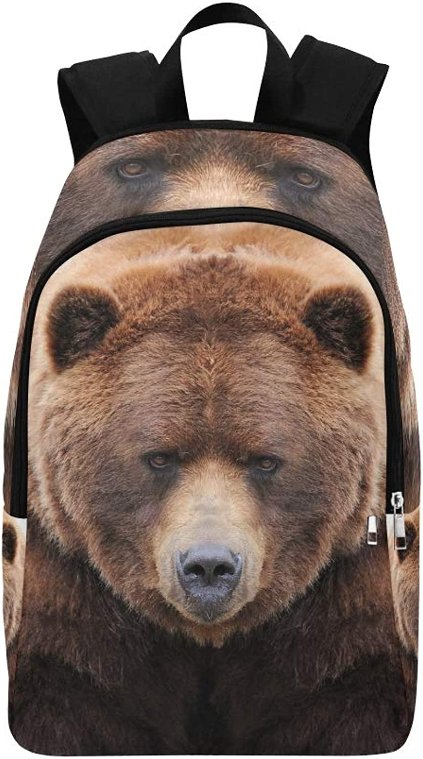 Brown Bear Isolated On White Casual Daypack Travel Bag College School Backpack for Mens and Women