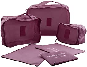 6Pcs Waterproof Travel Storage Bag Clothes Packing Cube Luggage Organizer (Wine Red)