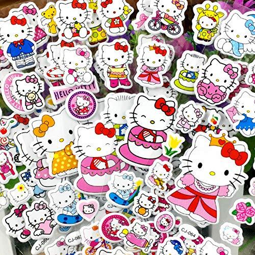 Lanseede Hellokitty 3D Puffy Stickers Kinder Aufkleber für Mädchen 12 Verschiedene Blätter 250+ Geschwollen Stickers zum Thema Hello Kitty, Mitgebsel Kindergeburtstag und Gastgeschenke