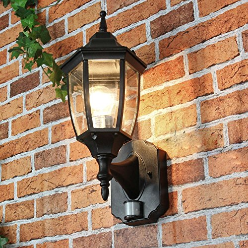 *Rustikale Wandleuchte in schwarz inkl. 1x 12W E27 LED Wandlampe aus Aluminium Glas einstellbar für Garten Terrasse Weg Lampen Leuchte Beleuchtung*