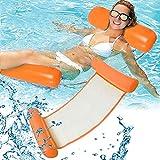 RHESHINE Cama hinchable para piscina, hamaca de agua, 4 en 1, tumbona para piscina, tumbona hinchable para piscina (naranja)