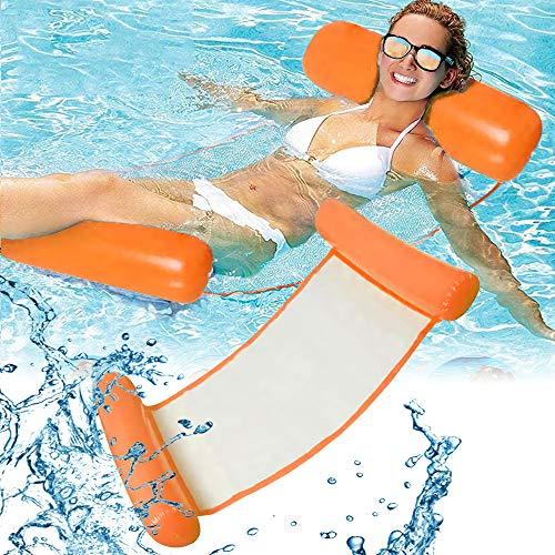 RHESHINE Aufblasbares Schwimmbett, Wasser-Hängematte 4-in-1Loungesessel Pool Lounge luftmatratze Pool aufblasbare hängematte Pool aufblasbare hängematte (Orange)