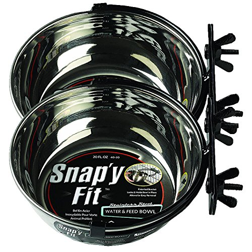 MidWest Homes for Pets Snap'y Fit Food Bowl / Pet Bowl, 20 oz. for Dogs, Cats & Small Animals (2 Pack)