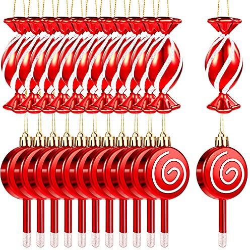 24 Decoraciones de Navidad con Tema de Caramelo Adorno Navidad de Piruletas Adorno Navidad de Bastón de Caramelo Decoración Navidad de Dulces Rojos y Blancos Adorno Navidad Brillante Roja