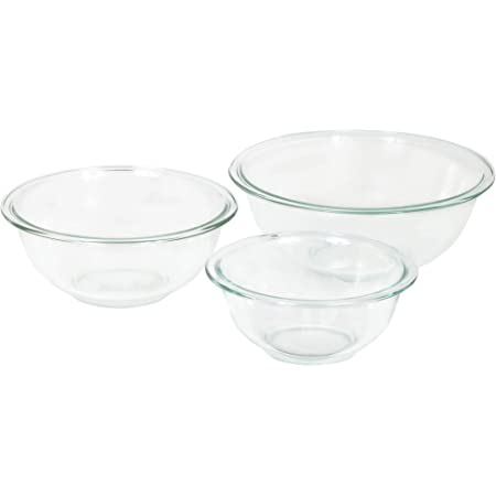 Pyrex Glass Mixing Bowl Set (3-Piece Set, Nesting, Microwave and Dishwasher Safe)