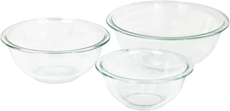 Pyrex Smart Essentials Glass Mixing Bowls, (3-Piece Set) 946mL, 1.4L and 2.3L
