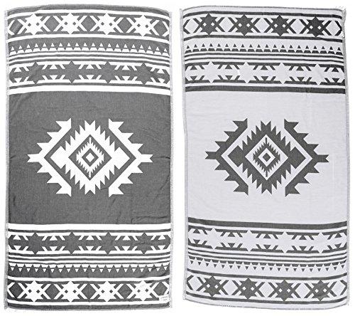 Bersuse 100% Algodon - Cozumel Toalla Turca - Fouta Toalla de Playa y Toalla de Baño - Doble Capa - Diseño Azteca - 100 x 180 cm, Gris Plateado