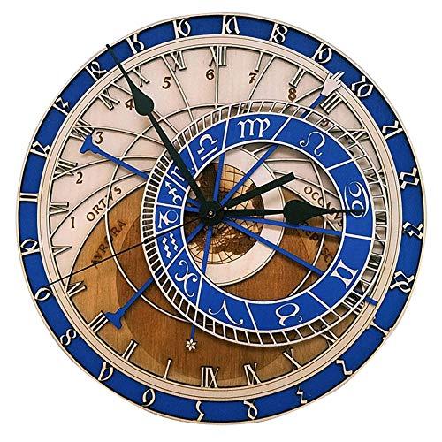 DYJD Holz Uhr, Wanduhr, kreative Prag astronomische Uhr stummer Quarz Holz Wanduhr, geeignet für Wohnzimmer Schlafzimmer Küche Büro Art-Deco-Uhr, 40CM