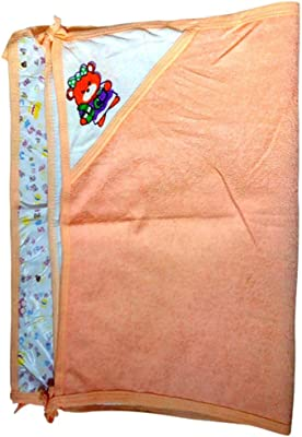 Goel Home Decor Linen Baby Sheets/Kids Sheet/Baby Bath & Hold Towel with Plastic Sheet-Multiprint (1)