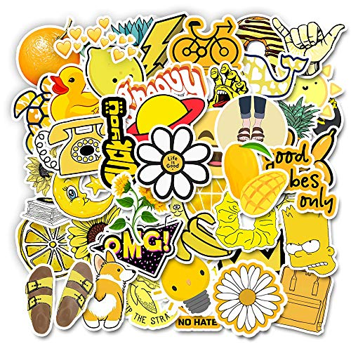 50pcs Cute Yellow Aesthetic Stickers Pack for Hydro Flask Water Bottle Laptop Phone, Cool Stuff for Teen Girls Kids, Waterproof Vinyl Trendy Stickers