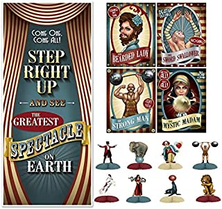 Beistle Vintage Circus Party Decorations Kit with Poster Cutouts, Door Cover, and Mini Centerpieces