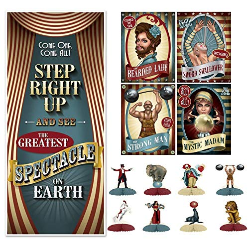 Creepy Carnival Sideshow Door Decoration - Beistle Vintage Circus Party Decorations Kit