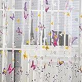 EXIU Rideau Motif Papillon Décoration Chambre pour Fenêtre Porte