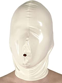 VsvoLatex Black Latex Rubber Catsuit Inflatable Hood Mask Open Nostril