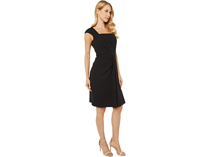 Calvin Klein Square Neck Dress With Ruching Detail Black Dresses