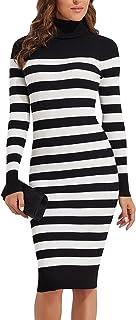 PrettyGuide Women's Turtleneck Knit Pullover Long Sleeve Stretch Bodycon Sweater Dress, Black White Stripes, X-Large